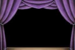 窗帘紫色阶段 库存照片