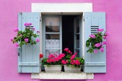窗槛花箱花的布置,法国 免版税库存图片