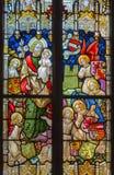 从窗玻璃的鲁汶-圣若瑟在从19。分的圣安东尼教会里。 免版税库存照片