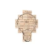 建立一个新的创造性的想法 有拉长的电灯泡的砖墙 库存照片