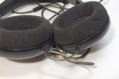 立体声耳机特写镜头泡沫圆earpads  库存照片