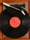 立体声转盘唱片球员模式减速火箭的葡萄酒 免版税库存照片