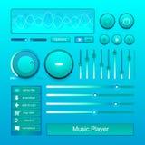 立体声音乐播放器容量按钮控制集合传染媒介 库存图片