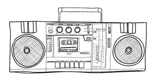 立体声Boombox收音机葡萄酒手拉的lineart例证 图库摄影