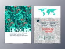 建立几何样式小册子设计templat的抽象城市 免版税库存图片