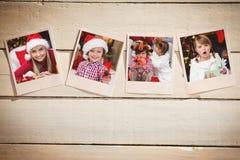 立即照片的综合图象在木地板上的 免版税库存图片
