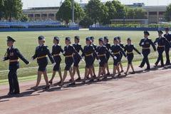 建立女性以亚历山大命名的305陆军中尉问题军事太空学校Fedorovich Mozhaysky 免版税图库摄影