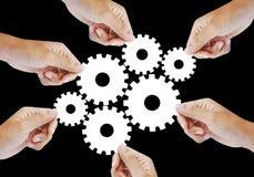 建立嵌齿轮轮子齿轮系统的一起联合工作 免版税库存照片