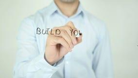 建立您的网络,写在透明屏幕 股票录像