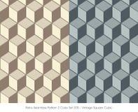 立方体减速火箭的无缝的样式2颜色Set_205葡萄酒的正方形 免版税库存照片