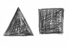 立方体和长方形与自然铅笔构造了背景 免版税图库摄影