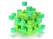 立方体块。聚集的概念。在白色。 免版税图库摄影