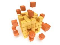 立方体块。聚集的概念。在白色。 免版税库存照片