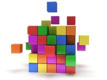 立方体块。聚集的概念。在白色。 向量例证