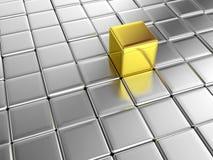 立方体平台银金子 库存照片
