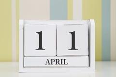 立方体形状日历4月11日 库存图片