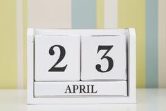 立方体形状日历4月23日 免版税库存照片