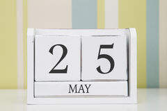立方体形状日历5月25日 免版税库存图片