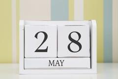 立方体形状日历5月28日 库存照片