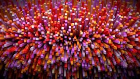 立方体微粒explotion, 3d 3d翻译 免版税库存照片