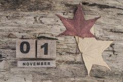 立方体日历在木背景的11月 图库摄影