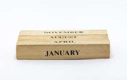 立方体木样式日期日历 库存图片