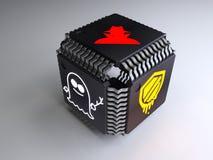 立方体由与sy熔毁的幽灵和的黑客的computerchips做成 免版税库存图片