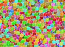 从立方体的多彩多姿的建筑结构 抽象architectur 免版税库存图片