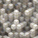 从立方体的建筑结构。抽象建筑学背景 免版税库存照片