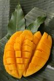 立方体被切的成熟芒果 库存照片