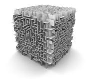 立方体迷宫(包括的裁减路线) 库存图片