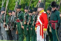 立正在战争1812期间 库存图片
