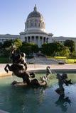 建立街市地平线的喷泉杰斐逊城首都 免版税库存照片
