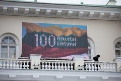 立陶宛国家地位的恢复的100th周年 免版税库存图片