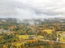 立陶宛国家边地区照片在一有雾的天 库存照片