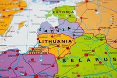 立陶宛映射 免版税库存图片