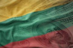 立陶宛的五颜六色的挥动的国旗美国美元金钱背景的 免版税图库摄影