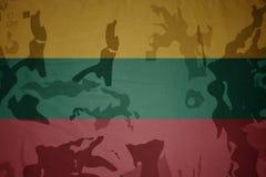 立陶宛的旗子卡其色的纹理的 装甲攻击机体关闭概念标志绿色m4a1军用步枪s射击了数据条工作室作战u 库存照片