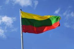 立陶宛的旗子有条纹的以黄色、绿色和红色 免版税库存图片