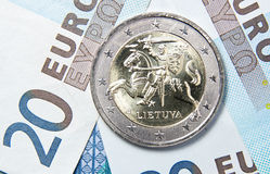 2立陶宛的欧元 库存照片