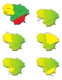 立陶宛省地图 免版税库存图片