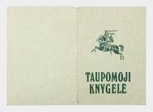 立陶宛银行存折盖子从1993年 免版税图库摄影