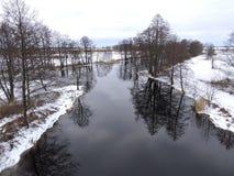 立陶宛风景在冬天 免版税库存照片