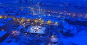 """立陶宛,克莱佩达†""""夜空中录影射击 城市事件 影视素材"""