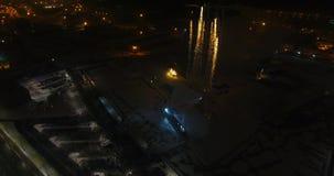 """立陶宛,克莱佩达†""""夜空中录影射击 城市事件 股票录像"""