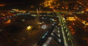 """立陶宛,克莱佩达†""""夜空中录影射击 城市事件 股票视频"""