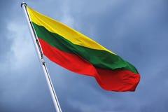 立陶宛,在黄色,绿色,红色,国家标志的条纹的旗子 库存图片