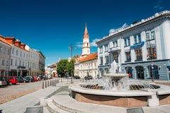 立陶宛维尔纽斯 市政厅广场喷泉在Rotuses广场 库存照片
