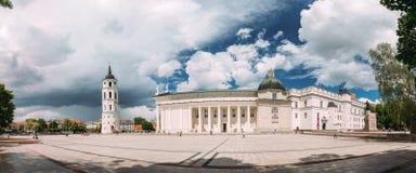 立陶宛维尔纽斯 钟楼教堂和大教堂全景  免版税图库摄影