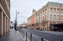 立陶宛 维尔纽斯老街道  新年度在维尔纽斯 2017年12月31日 图库摄影